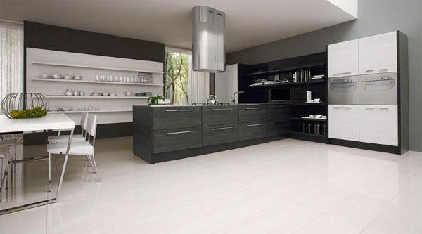 Diseño de Cocina Minimalista en Blanco y Negro por Futura