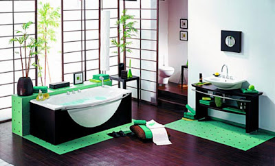 DECORACION DE INTERIORES BAÑO DE COLOR VERDE