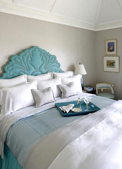 Turquesa y blanco perla ideas dise o dormitorio for Black and white and turquoise bedroom ideas