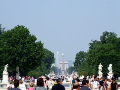 Looking through Tuileries Gardens towards Arc de Triomph from outside the Louvre