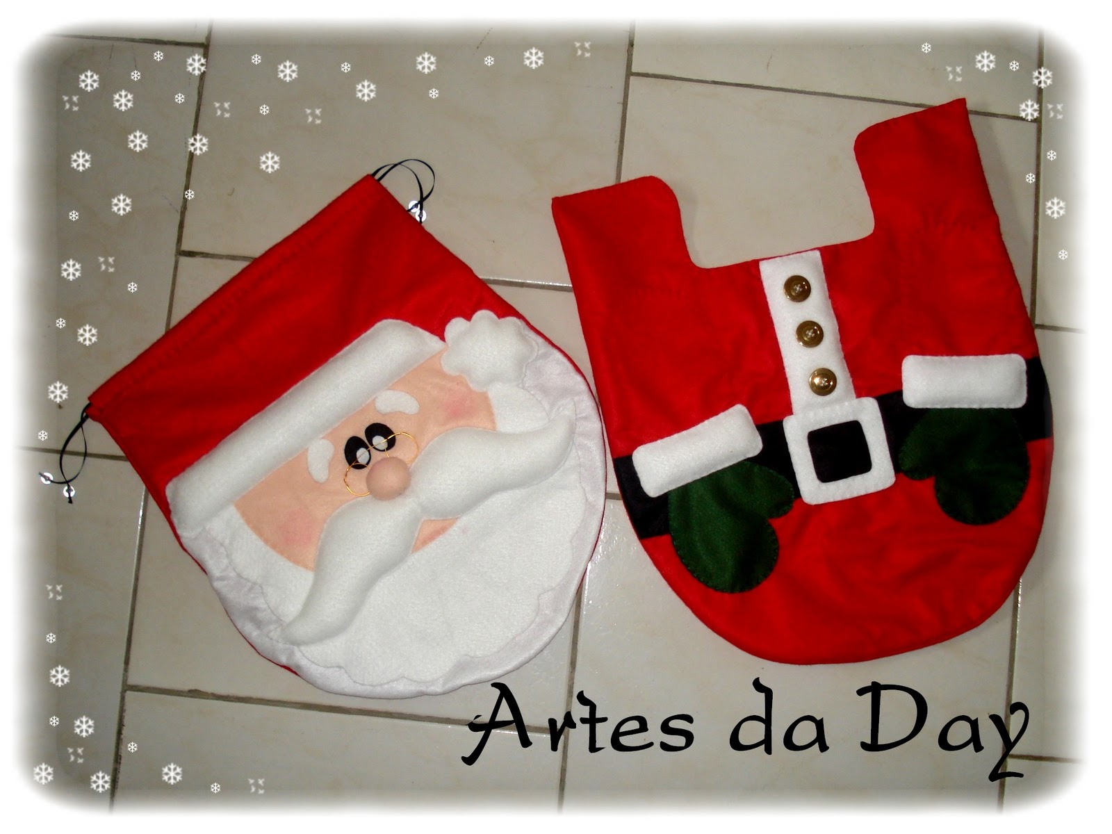 Artes da Day ♥ ♥: Conjunto para Banheiro Papai Noel . #B30001 1600x1200 Acessorios Banheiros Joinville