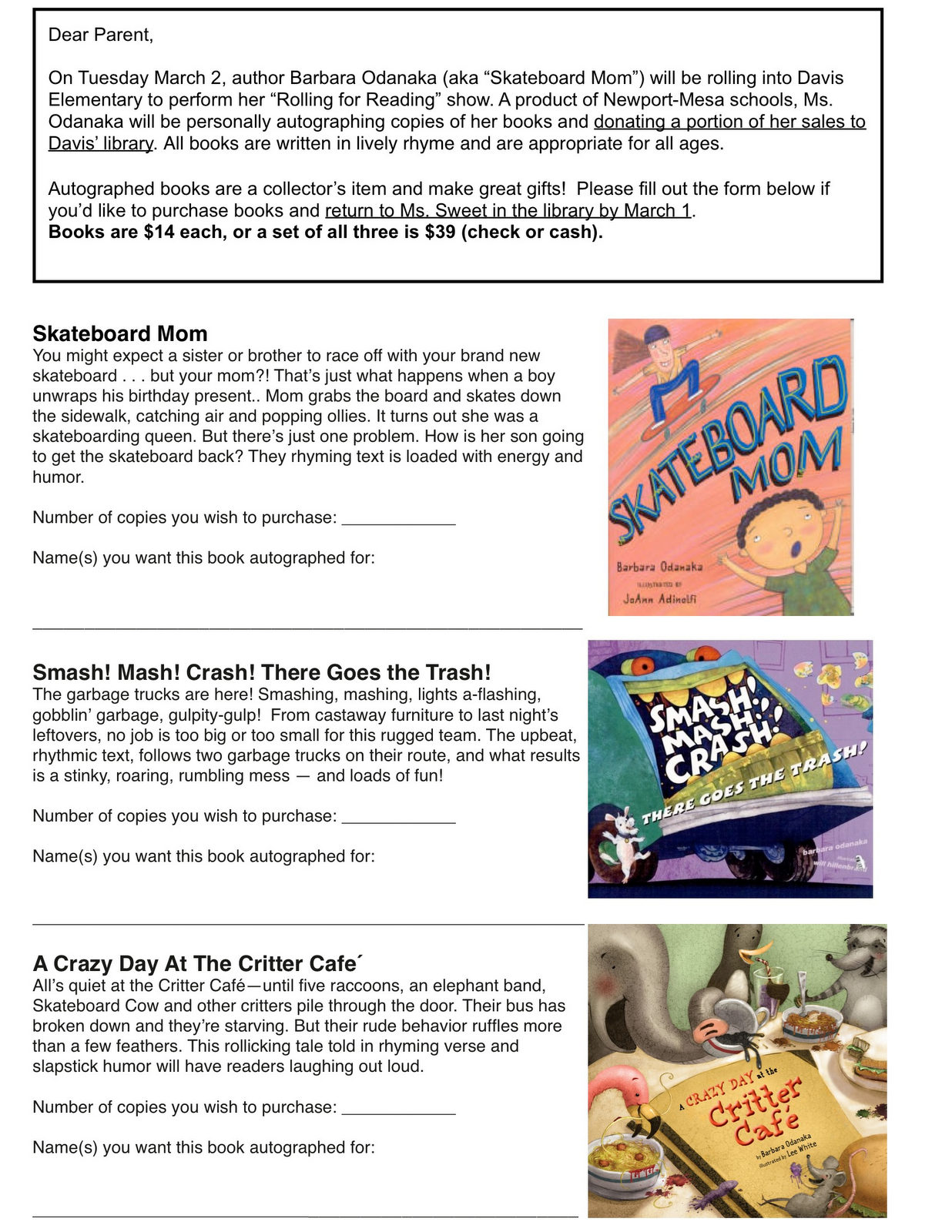 Author Visits by Barb Odanaka!: Sample Book Order Form
