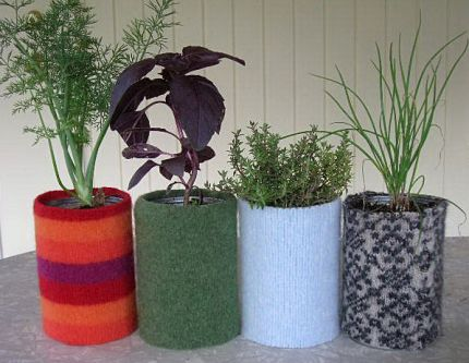 Manilla made recycled herb garden for Using recycled materials in the garden