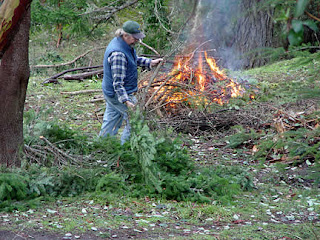 First burn pile underway, photo by Robin Atkins