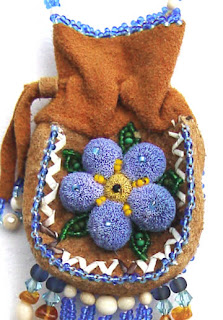 Native Alaskan beaded amulet bag, detail, collection of Robin Atkins