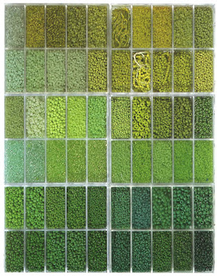 a vast selection of green seed beads were available prior to WWII