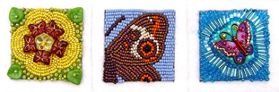 three beaded squares for breast cancer bead quilt