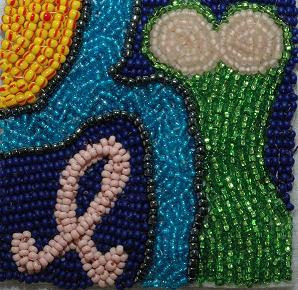 beaded square for GLBS bead quilt in memory of Barb Davis