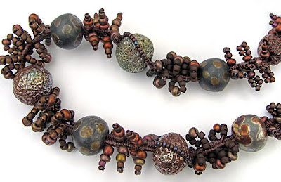 finger weaving, necklace with raku beads, by Robin Atkins, bead artist