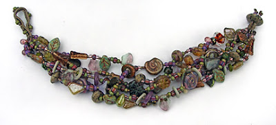 finger weaving, bracelet by Robin Atkins, bead artist