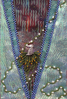 bead embroidery by Robin Atkins, July bead journal project, unfinished