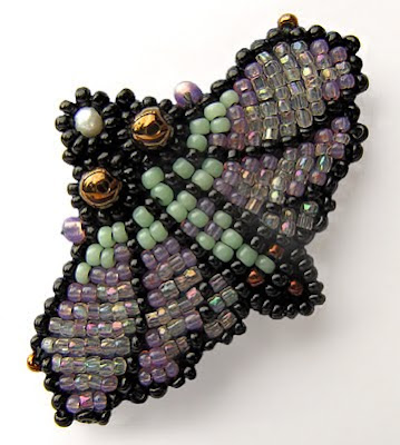 beaded moth, brooch by Robin Atkins