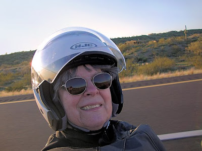 Robin Atkins, self-portrait while riding shotgun on the Goldwing