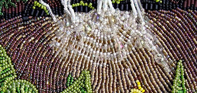 bead embroidery, landscape, by Robin Atkins, waterfall detail