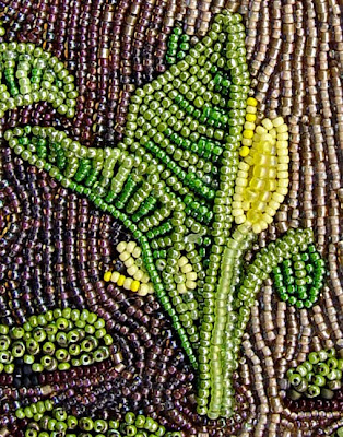 bead embroidery, landscape, by Robin Atkins, skunk cabbage detail