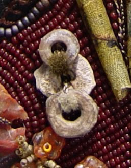 bead embroidery collage by Robin Atkins, bead journal project, detail of ancient pottery rings