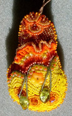 bead embroidery, pear ornament by Mary Tod, detail