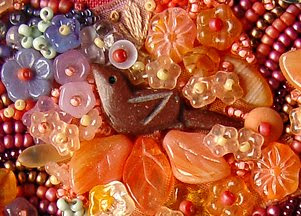 bead journal project, Robin Atkins, bird detail, bead embroidery