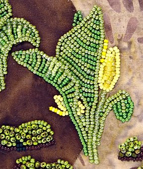 Robin Atkins, Bead Journal Project for March, in progress, skunk cabbage detail, flat