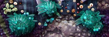 Global Warming, bead-embellished quilt by Thom Atkins, detail showing anemone