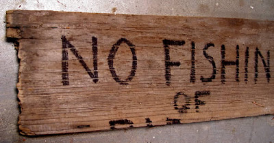 Thom Atkins, no fish sign made for Global Warming quilt