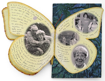 bead journal project, Robin Atkins, Mom and Me, detail showing book under beaded butterfly wing