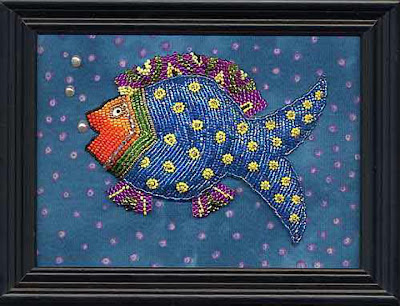 bead journal project, framed piece by Ellen C