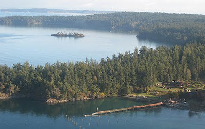 Camp Orkila, Orcas Island, WA, view from small airplane