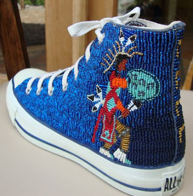 beaded sneaker by Teri Greeves, Native American bead artist