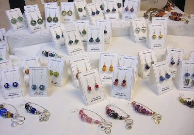 bead jewelry by Robin Atkins, fibula pins, earrings