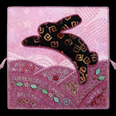 bead and thread embroidery by Robin Atkins, bead journal project, Believe