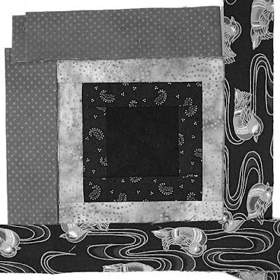 God's Eye quilt by Robin Atkins, auditioning fabrics, grayscale to evaluate value