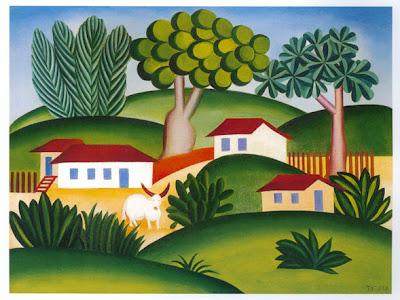 quadro com um touro no centro cercado pela paisagem de casas e campos