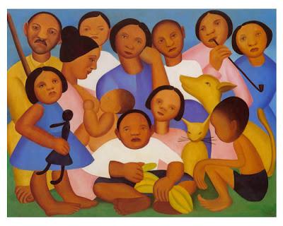quadro com uma família reunida para uma foto
