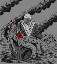 Madre palestina,  sostiene a su hijo asesinado por el Sionismo