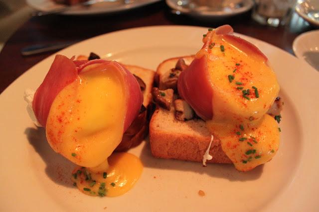 Breakfast, Poached Eggs, Sauteed Mushrooms, Prosciutto