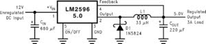 LM2596 Simple Switch Step Down Regulator Circuit