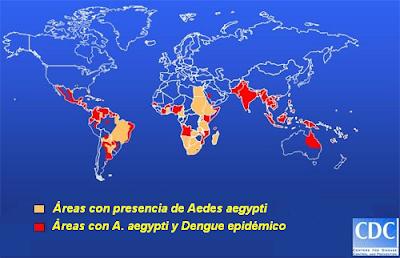 Zonas de distribución del Dengue