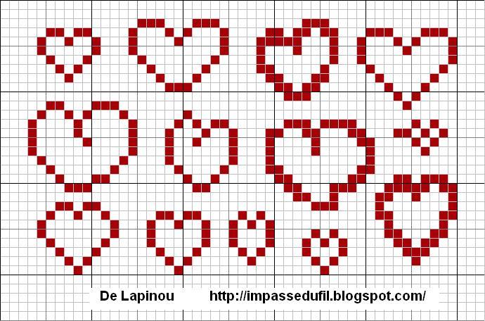 L 39 impasse du fil grille de point croix coeurs - Grille point de croix gratuite coeur ...