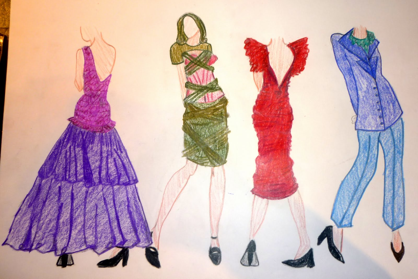 1980s Fashion Drawing