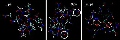 simulation of detonating nitromethane at three different times