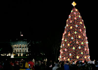 Crowds on the Ellipse in Washington, D.C., watch the annual lighting of the National Christmas Tree, attended by President George W. Bush and Laura Bush, Thursday evening, Dec. 7, 2006, during the 2006 Christmas Pageant of Peace. White House photo by Paul Morse.
