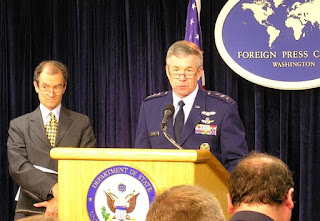Air Force Lt. Gen. Henry A. Obering [right], Director of the U.S. Missile Defense Agency; and Daniel Fried [left], Assistant Secretary of State for European and Eurasian Affairs at the Washington Foreign Press Center Briefing on 'Missile Defense in Europe.'