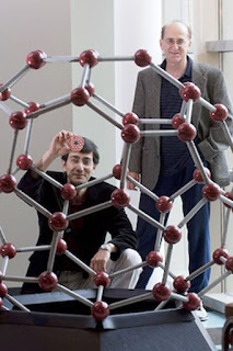 A new study by Boris Yakobson (right), professor of mechanical engineering and materials science and of chemistry,  graduate student Arta Sadrzadeh (left) and colleagues, predicts the existence and stability of another 'buckyball' consisting entirely of boron atoms. Photo Credit JEFF FITLOW