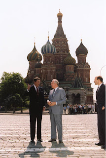 President Reagan and Soviet General Secretary Gorbachev in Red Square during the Moscow Summit. 5/31/88. Courtesy Ronald Reagan Library