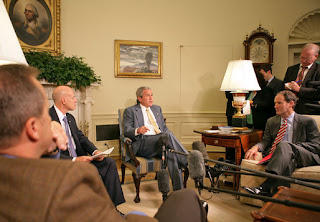 President George W. Bush discussed the economy with the press Friday, Oct. 5, 2007, in the Oval Office. Pictured with the President are, from left: OMB Director Jim Nussle, CEA Chairman Ed Lazear and NEC Director Al Hubbard. 'I want to thank members of my economic team for coming in the Oval Office this morning to bring some good news here for America's families and America's working people. The -- last month our economy added 110,000 new jobs,' said President Bush. 'And that's good news for people here in our country. It's an indicator that this economy is a vibrant and strong economy.' White House photo by Eric Draper.