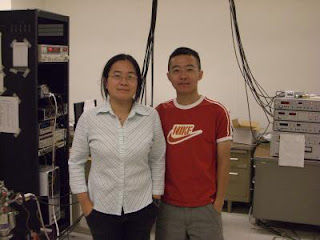 Caption: Jeanie Lau (left), an assistant professor of physics, seen with Feng Miao (right), her graduate student and first author of the research paper. Credit: Lau lab, UC-Riverside. Usage Restrictions: None.