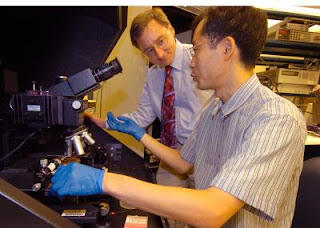 Purdue postdoctoral research associate Sanghyun Ju, sitting, and professor David B. Janes