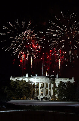 Fireworks explode over the White House