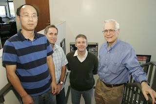 From left: Chuanbing Tang, Glenn Fredrickson, Craig Hawker and Edward Kramer.